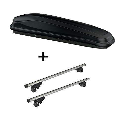 VDP Dachbox JUEASY300 300 Liter schwarz + Dachträger/Relingträger LION2 kompatibel mit Ford Kuga II (5 Türer) ab 12