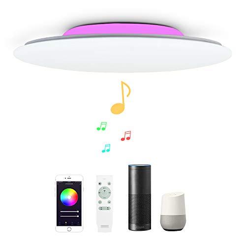 36W Φ40cm Plafoniera LED Compatibile Amazon Alexa Google Home Con Bluetooth Altoparlante Telecomando Luce Regolabile Cambia Colore RGB Lampada Da Soffitto WIFI Intelligente Per Camera Da Lettoletto