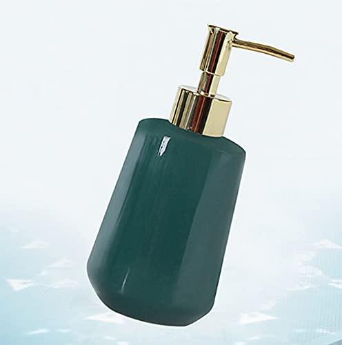 JJXZM Dispensador de Gel, dispensador Gel y champu Ducha dosificador jabon Botella de jabón líquido de cerámica (Verde 300ml)