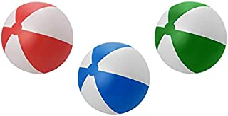 Classic Inflatable Beach Balls - Assorted Colors (Red/Blue/Green) 3 pcs - Pool Toys Party Favors - Beach Toys