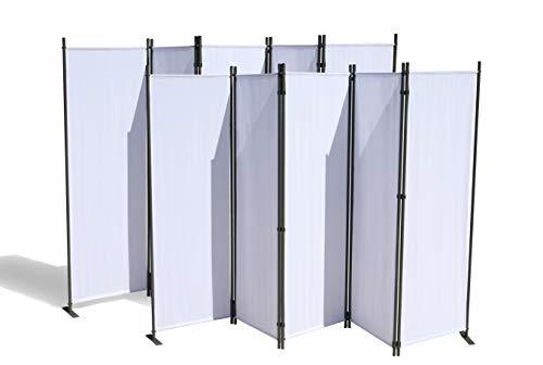 GRASEKAMP Qualität seit 1972 2 Stück Paravent 5 teilig Weiß Raumteiler Trennwand Sichtschutz