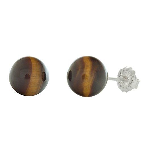 Trustmark 925 Sterling Silver 8mm Natural Brown Tigers Eye Ball Stud Post Earrings