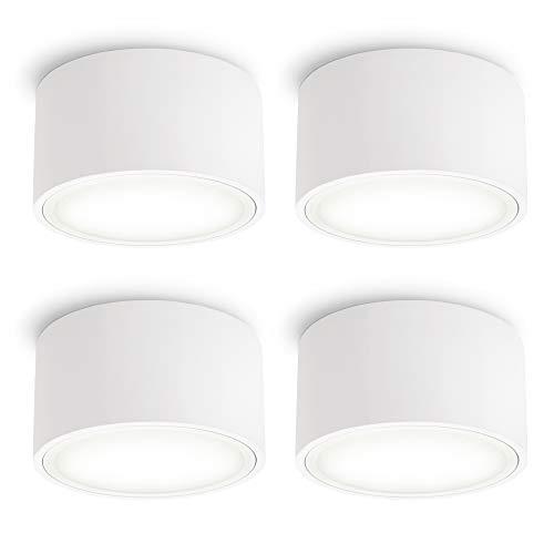 SSC-LUXon CELI-X Aufbau Spot LED flach weiß 4er Set große Lichtfläche LED GX53 neutralweiß 3,5W 230V - Deckenspot rund Ø 95mm