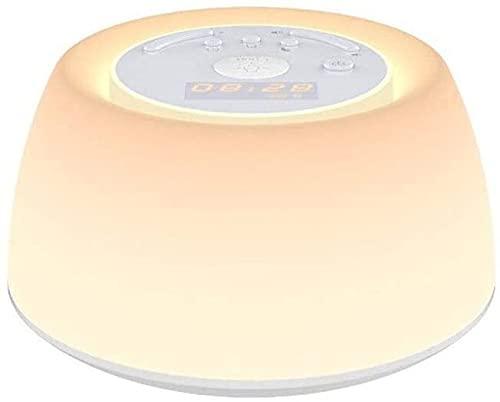 Ckssyao Moderna e semplice sveglia in materiale ABS per casa camera da letto tre simulazione di regolazione della luce bianca luce dell'alba luce sveglia naturale ricarica USB bianca Lampada da scriva