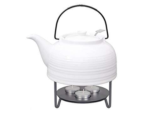 tea4chill Nelly - Servicio de té Moderna Tetera de 1,5 litros en Color Blanco de cerámica Resistente al Calor con Filtro de Acero Inoxidable y Varillas de Metal.