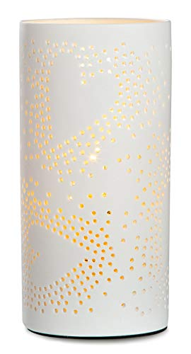 GILDE Lampe Prickel Herz - aus Porzellan mit Lochmuster im Prickellook H 20 cm