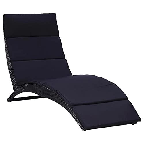vidaXL Transat avec Coussin Chaise Longue dExtérieur Chaise Longue de Terrasse Chaise Longue de Balcon Camping Résine Tressée Noir