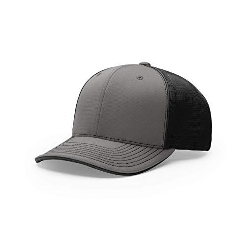 Richardson Unisex 172 Trucker Pulse Sportmesh R-Flex Baseball Cap, Split Charcoal/Black, Large/X-Large