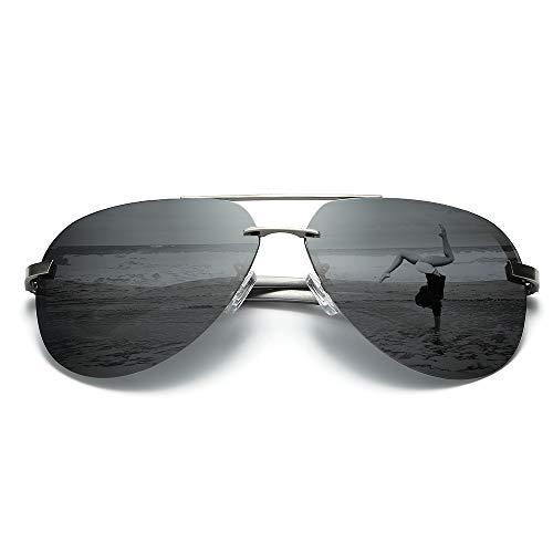偏光サングラス、65mmビッグミラーフレームレスUV400  ドライビング ゴルフ フィッシング ユニセックス (Black)