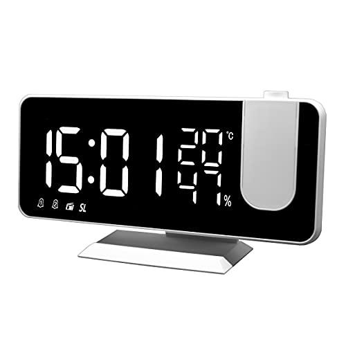 WEEAZ Radiosveglia Digitale da Comodino con Proiettore, 2 Allarmi, Snooze, 15 Memorie Radio,...