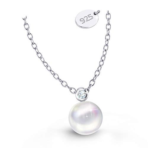 Silberkette Damen 925 mit Anhänger Kette mit Perle Für Frauen Silber Echter Swarovski Kettenanhänger Nickelfrei Schmuckset Geschenk Geburtstag