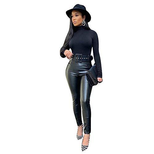 IHCIAIX Damen Lederhose,Lederhose Sexy Women Pant, hohe Taille Stretch Schwarzes Leder Slim Hose, Leggings Skinny Elastic Streetwear Office Lady, Schwarz, S.