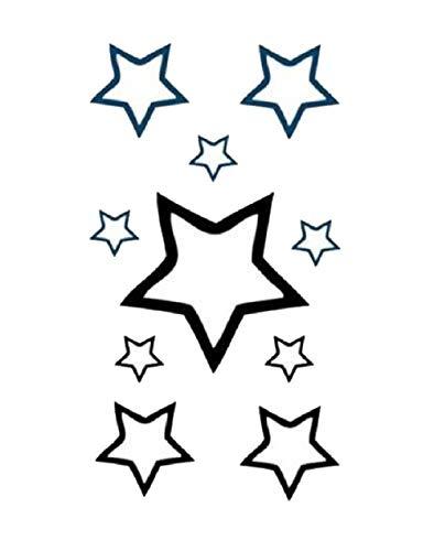10 Petit Tatouages éphémères étoile Noir Waterproof - Tatoo temporaire - Bijou de Peau étoile