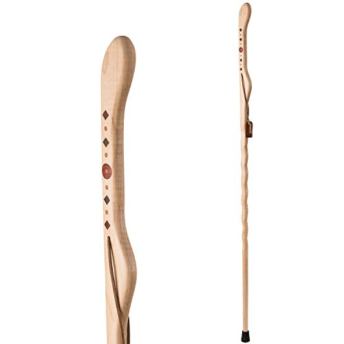 Hiking Walking Trekking Stick - Handcrafted Wooden Walking & Hiking Stick - Made in The USA by Brazos - Twisted Maple Southwest Inlay - 55 inches