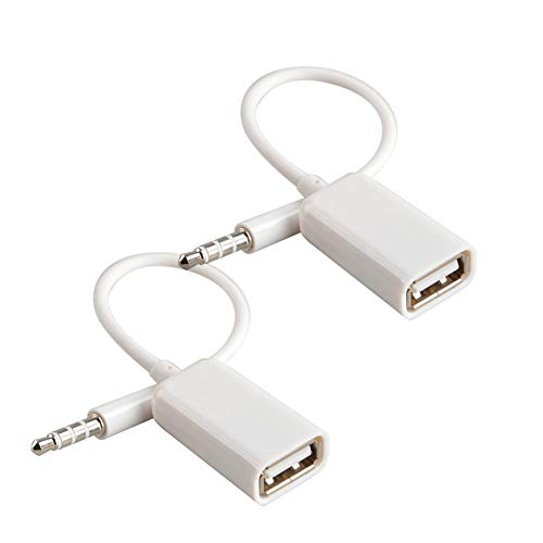 Aux to USB Adapter 3.5mm Macho Aux Audio Jack Enchufe a USB 2.0 Hembra Convertidor Cable Cable Convertidor para Coche Blanco 2 Pack de Oxsubor (Car Need Decode Function)