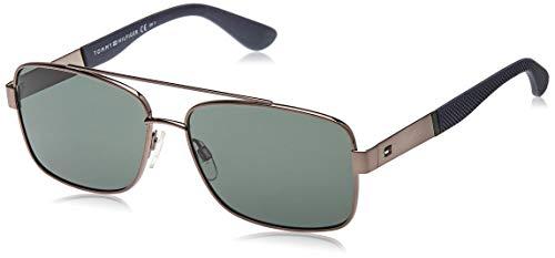 Tommy Hilfiger TH 1521/S QT KJ1 59 Gafas de sol, Gris (Ruthenium/Green), Hombre