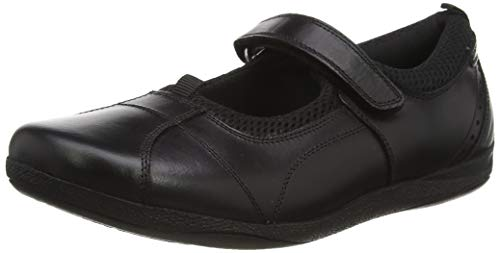 Hush Puppies Cindy SNR Girls Leather School Shoes-Black-7.5