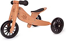 Kinderfeets TinyTot 2-in-1 Wooden Balance Bike and Tricycle - Easily Convert from Bike to Trike   Sustainable and Eco-Friendly   Adjustable Riding Balance Toy for Kids and Toddlers (Bamboo)