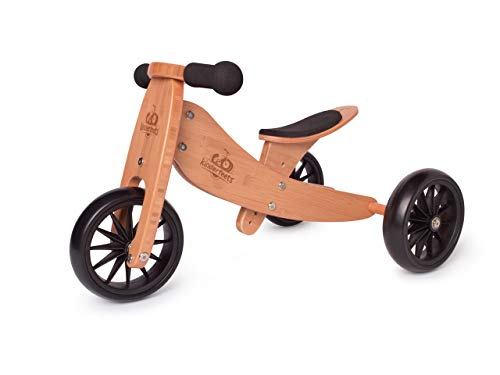 Kinderfeets TinyTot 2-in-1 Wooden Balance Bike and Tricycle - Easily Convert from Bike to Trike | Sustainable and Eco-Friendly | Adjustable Riding Balance Toy for Kids and Toddlers (Bamboo)
