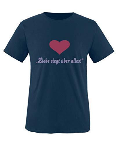 Comedy Shirts T-shirt à col rond 100 % coton avec inscription « Liebe siegt ueber Alles! » - Bleu - 12 ans