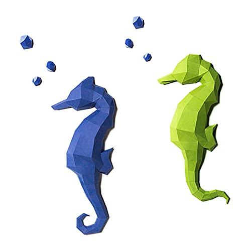 WLL-DP Aspecto De Caballito De Mar 3D Rompecabezas De Origami Hecho A Mano Decoración De Pared Geométrica Novela DIY Papel Artesanal Escultura De Papel Modelo De Papel De Juguete