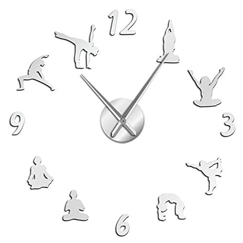 xinxin Reloj de Pared Yoga Time Mirror Effect Sticker Gran número DIY Reloj de Pared 3D Deporte Sin Marco Reloj de Pared Gigante Fitness Reloj Moderno Decoración para el hogar