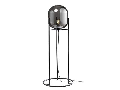Coole kleine Stehleuchte mit Lampenschirm aus Rauchglas & Filament LED – außergewöhnliche Dreibeinlampe