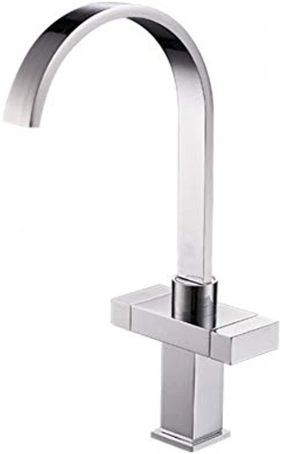 Bathroom Sink Basin Lever Mixer Tap Copper Kitchen Faucet Square Double Kitchen Hot and Cold Water Faucet