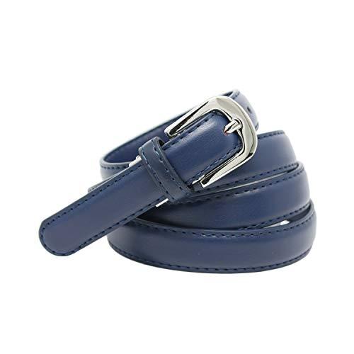 YEHMAN - Cinturón de mujer clásico fino de 2 cm de corteza de piel de vacuno ajustable de 120 cm azul marino 120