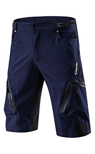 Arasiyama Men's Mountain Biking Shorts Bike MTB Shorts Loose Fit Cycling Baggy Lightweight Hiking Pants with 7 Zip Pockets Navy