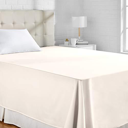 AmazonBasics - Sábana encimera (algodón satén 400 hilos, antiarrugas), 275 x 275  + 10 cm - Blanco