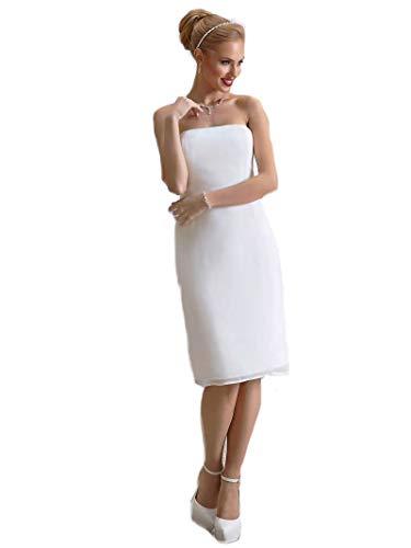 Zauberkutsche Etui Brautkleid Spitze Chiffon Hochzeitskleid Kleid Standesamt Ivory Creme 36-46 (40)