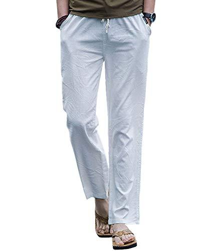 Preisvergleich Produktbild Sporthose Hosen Casual Herren Hosen Leinen Mit Festlich Bekleidung Seitentaschen Lässige Hose Loose Freizeithose Mode Kleidung Jogginghose (Color : Weiß,  Size : M)
