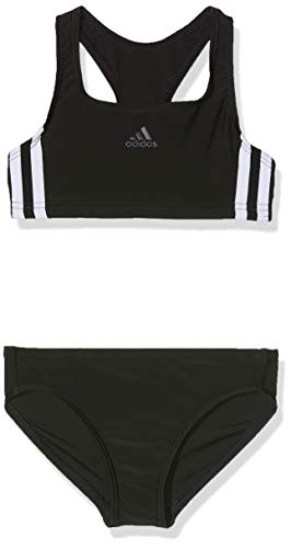 adidas Fit 2Pc 3S Y, Costume Da Nuoto Bambina, Black/White, L