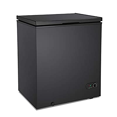 Antarctic Star 5.0 Cu.ft Chest Freezer 6.8?to -4?with Removable Basket Free Standing Top open Door Compact Freezer with Adjustable 7 Temperature Defrost Water Drain/Power Saving UL Certified Black