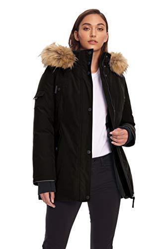 Alpine North Womens Vegan Down Parka Jacket with Faux Fur Black