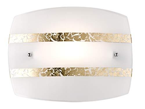 Applique murale LED exclusive à intensité variable - 30 x 22 cm - Abat-jour en verre blanc avec 2 bandes décoratives élégantes dorées - Design innovant.