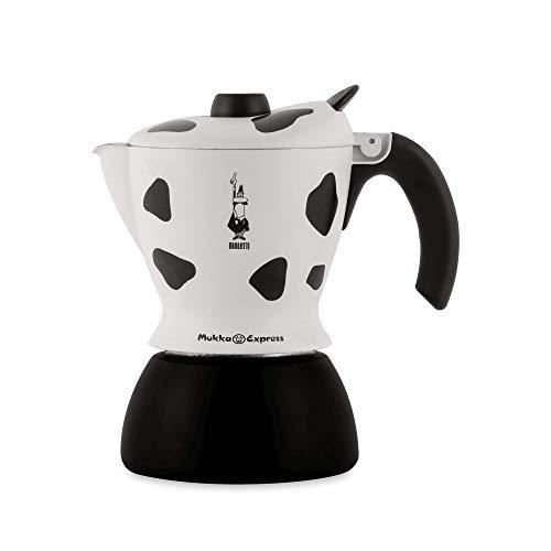 Bialetti Mukka Express Espressokocher mit dem EIN Espresso Cappuccino zuhause mit der Espressokanne genauso einfach, Aluminium, Schwarz, 2 Tassen
