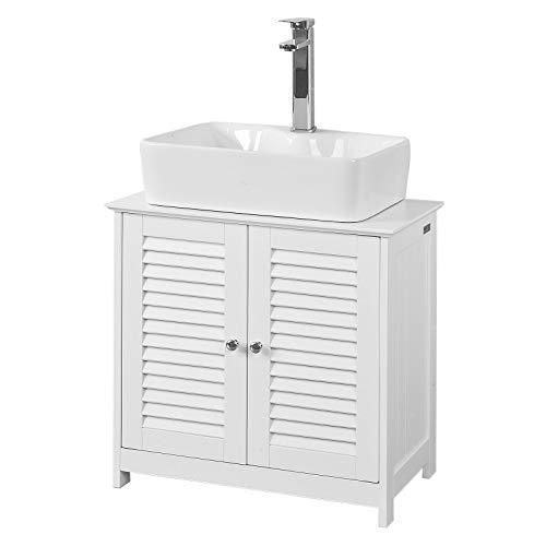 SoBuy Mobile Base per lavabo con 2 Ante in Stile tapparelle,Bianco,L60*P35*A58cm,FRG237-W,IT