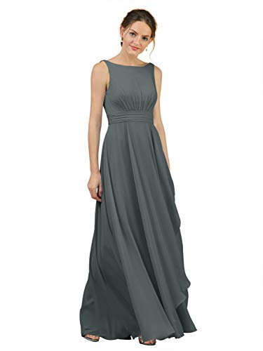 Alicepub Boat Neck Steel Grey Bridesmaid Dresses Chiffon Long Maxi Formal Gown for Women Party Evening, US8