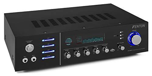 Fenton AV320BT Surround-HiFi-Verstärker, PA-Verstärker Heimkino Karaoke, Leistung: 2 x 100 Watt RMS (8 Ohm), Impedanz: 4 / 8 Ohm, Bluetooth, USB, Digital-Display, Echo / Bass / Treble, schwarz