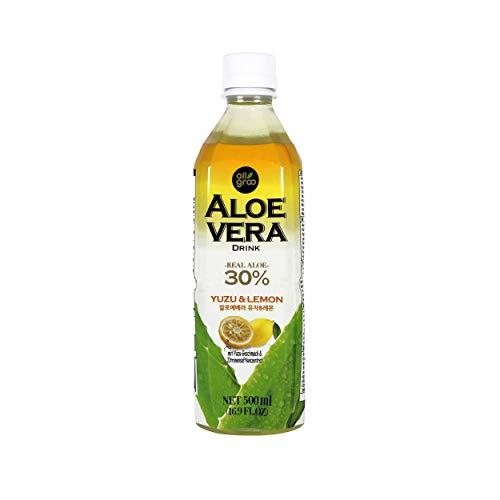 Allgroo Aloe Vera Drink - Erfrischendes Aloe-Vera-Getränk aus Südkorea - Geschmacksrichtung: Yuzu und Zitrone mit Fruchtfleisch -Einwegpfand, Vorteilspack (12 x 500 ml)