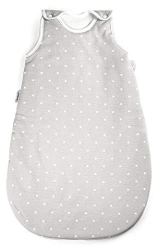 Ehrenkind® Babyschlafsack Rund | Bio-Baumwolle | Ganzjahres Schlafsack Baby Gr. 74/80 Farbe Grau mit weißen Punkten
