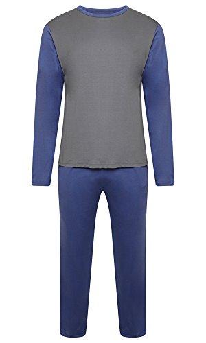 Herren Nachtwäsche PJ Pyjama Satz Zweiteiliger schlafanzug Nacht Tragen 100{4365cc79cb11fa4669aa7ca26fd8767993a7cb9b71052e9a071c496158194c0a} Baumwolle - Marine Blau / Heidegrau - Large