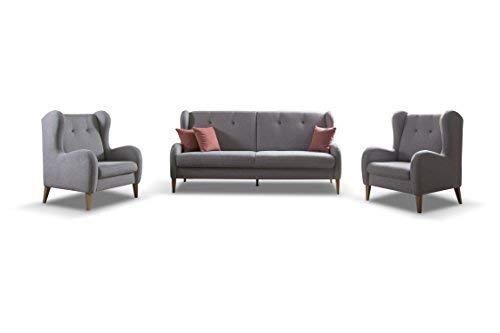 mb-moebel Polstergarnitur Sofa & Sessel 3-1-1 Möbel Set mit Bettkasten und Schlaffunktion Grau LATHI 311