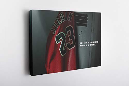 MW MERWEZI Michael Jordan Poster Jersey Locker Room Canvas Wall Art Home Decor Framed Art (30'x20' Stretched on Wood)