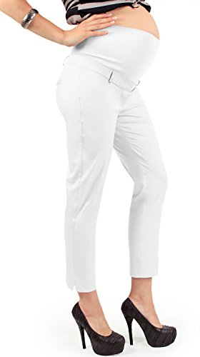MAMAJEANS Pantalone Premaman Estivo, Tessuto Cotone Elasticizzato, Fascia in Jersey di Cotone Made in Italy … (XL, Bianco)