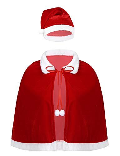iEFiEL Mantello Natalizio con Cappuccio da Donna Adulti Mini Mantello Rosso di Natale Invernale in Velluto Costume Halloween Carnevale Party Regalo di Natale Christmas Rosso One Size