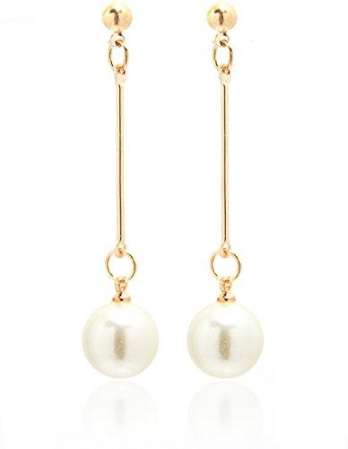 2LIVEfor Goldene Lange Ohrringe Perlen Weiss Ohrstecker Ohrstecker Gold Ohrringe Perlen lang hängend Stab Kugel Ohrhänger Perle Weiß schlicht elegant