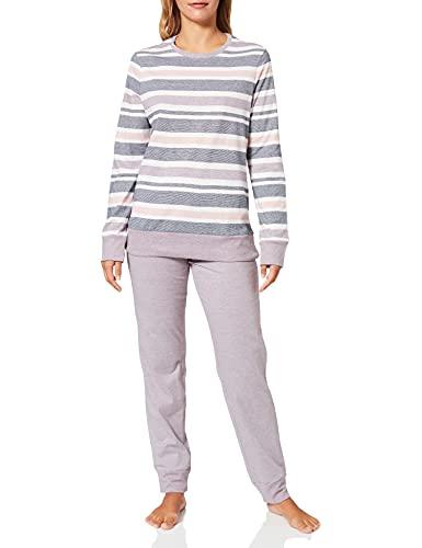Schiesser Damen Schlafanzug lang Pyjamaset, dunkelblau, 44